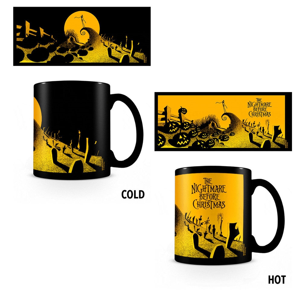 NIGHTMARE BEFORE CHRISTMAS - GRAVEYARD SCENE - HEAT CHANGING MUGS - TAZZA TERMICA CAMBIACOLORE