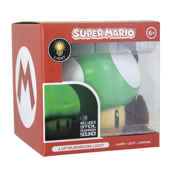 NINTENDO - SUPER MARIO FUNGHETTO VERDE 1UP - Lampada d'Ambiente 3D 12cm con Suoni Ufficiali (Batterie) - Mushroom Light