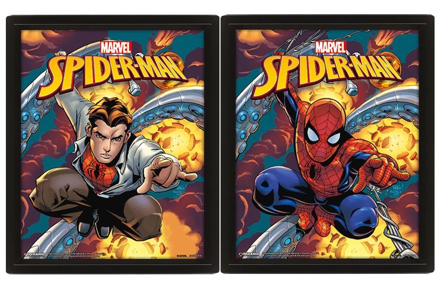 SPIDER-MAN - COSTUME BLAST (Peter Parker) - Quadro Doppia Immagine 3D Lenticular 22x27cm Con Cornice in Legno