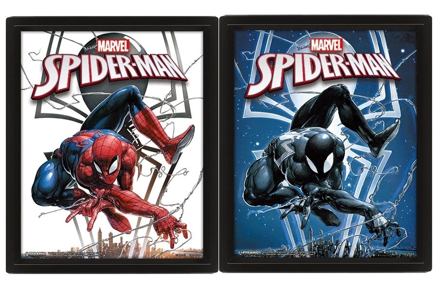 SPIDER-MAN - ROSSO E NERO (Venom) - Quadro Doppia Immagine 3D Lenticular 22x27cm Con Cornice in Legno
