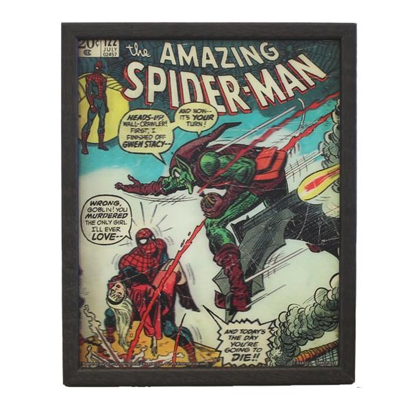 AMAZING SPIDER-MAN #122 - DEATH OF THE GREEN GOBLIN - Quadro Immagine 3D Lenticular 22x27cm Con Cornice in Legno