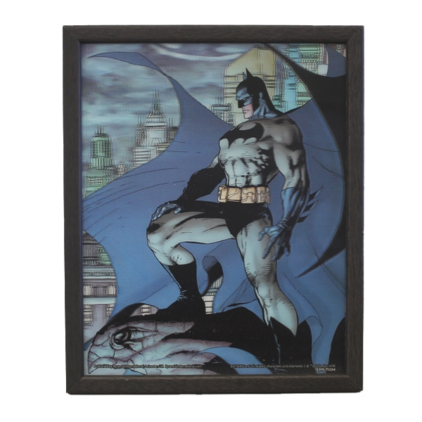 BATMAN ON GARGOYLE by JIM LEE - Quadro Immagine 3D Lenticular 22x27 cm Con Cornice in Legno