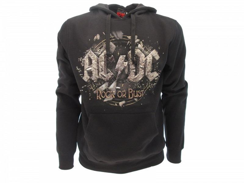 AC/DC - ROCK OR BUST - Felpa con Cappuccio - Nero Taglia L - Cotone con Tasche Anteriori