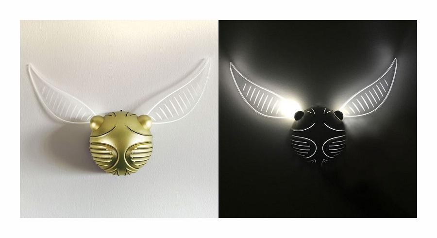 HARRY POTTER - BOCCINO D'ORO - Lampada Ambiente / Notturna da Muro Sagomata 3D a Rilievo  39x20 cm (Alimentazione Batterie)