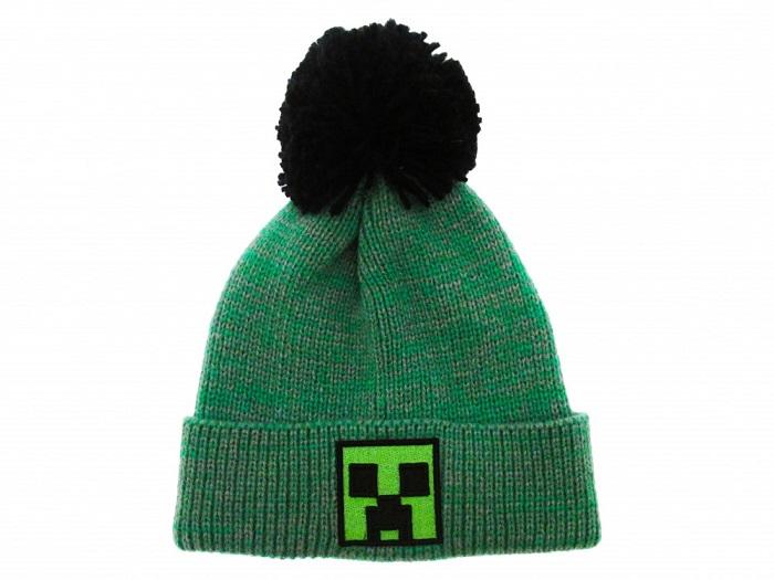 MINECRAFT - CREEPER - Cappello Zuccotto con PonPon e Logo Cucito - Morbido Caldo Acrilico Verde Taglia Unica 12+