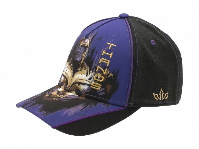 THANOS -  Baseball Cap Cappello Visiera Arrotondata Nero e Blu Regolabile Cotone