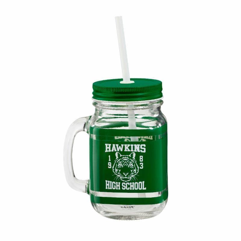 Funko - STRANGER THINGS Hawkins High School - Tazza Vasetto in Vetro Stile Marmellata con Cannuccia