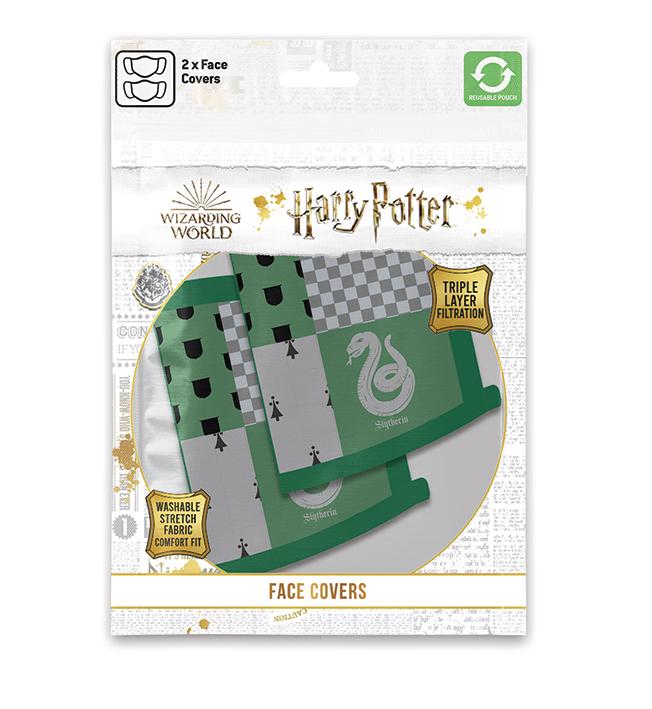 HARRY POTTER - SERPEVERDE - Set 2 Mascherine per Viso in Cotone Lavabili e Regolabili per Adulti e Bambini