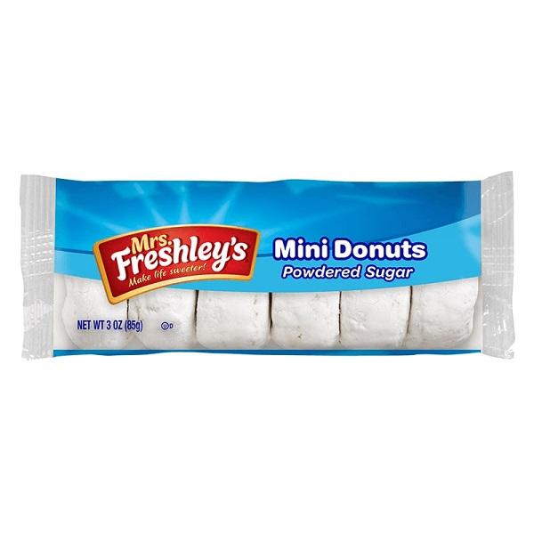 MRS. FRESHLEY'S MINI DONUTS Morbide Ciambelline con Zucchero a Velo 85g Merendine Snack Dolce Americano