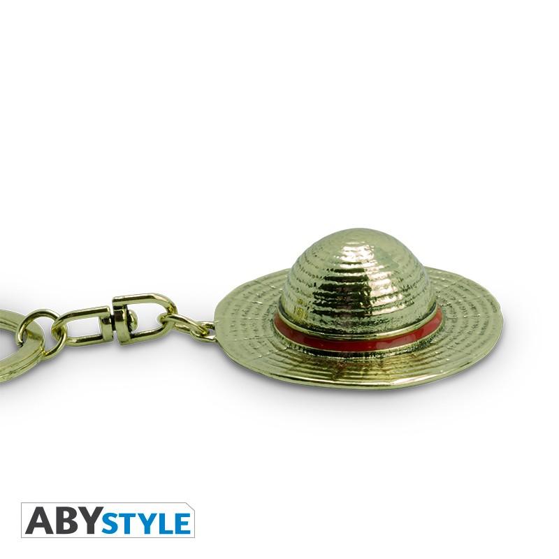ONE PIECE - CAPPELLO DI RUBBER (Luffy) - Portachiavi 3D  in Metallo 6 cm - Abystyle Keychain