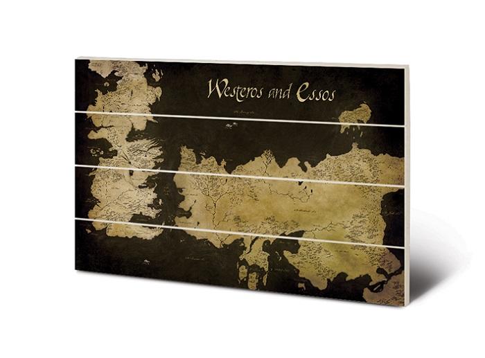 TRONO DI SPADE - MAPPA WESTEROS E ESSOS - Quadro Stampa su MDF Legno 59x40cm Game of Thrones - Wood Print
