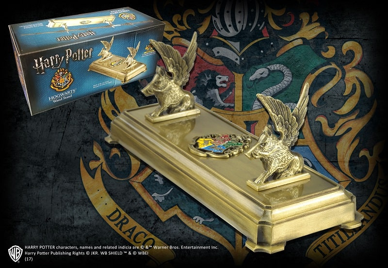 HARRY POTTER - HOGWARTS Supporto in metallo per Bacchetta Magica - Noble Collection