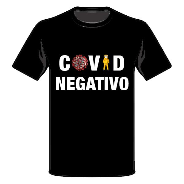T-Shirt COVID NEGATIVO - Nera Taglia XL - 100% Cotone Manica Corta