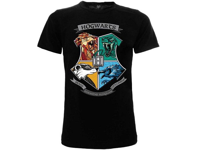 HARRY POTTER - CASATE DI HOGWARTS - T-Shirt Nero Donna Taglia L Cotone Manica Corta