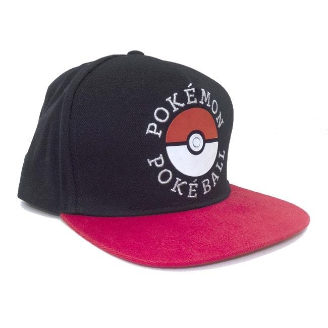 POKEMON POKEBALL - Cappello Visiera Piatta Nero Regolabile Cotone Snapback Cap