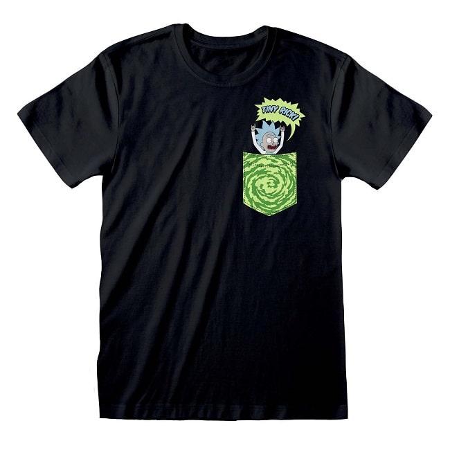 RICK e MORTY TINY POCKET - T-Shirt Cotone Nero Unisex Maglietta Manica Corta
