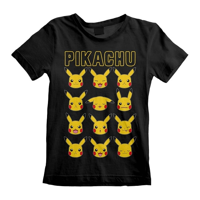 POKEMON PIKACHU FACES T-Shirt Bambino Cotone Nero Maglietta Manica Corta