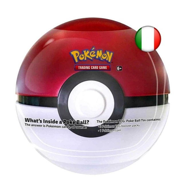POKEMON TIN POKE BALL 2021 - Sfera in Metallo da Collezione con 3 Bustine CCG e Moneta Pokemon