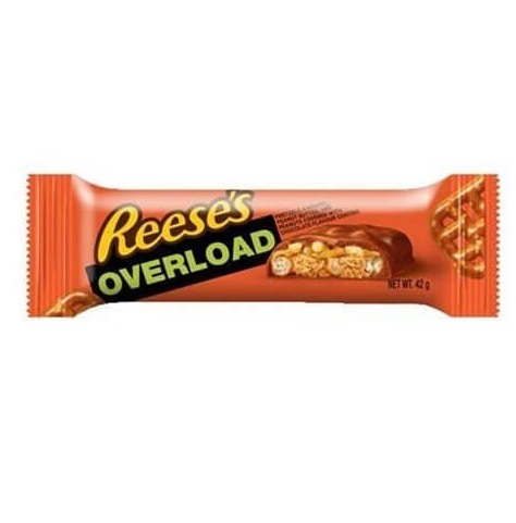 REESE'S OVERLOAD - Barretta Cioccolato Pretzel Caramello Burro d'Arachidi Snack Americano Dolce