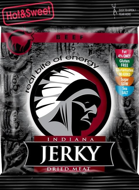 INDIANA BEEF JERKY HOT and SWEET Straccetti di Carne di Manzo Essiccata e Speziata 25g American Snack