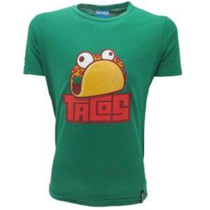 FORTNITE - TACOS T-Shirt Bambino Cotone Verde Maglietta Manica Corta