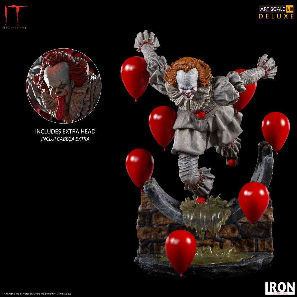 IT Chapter Two - PENNYWISE Figure Statua in Resina De Luxe Art Statue 1/10 Altezza 21cm - Iron Studios